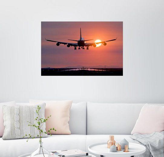 Posterlounge Wandbild, Flugzeug im Abendrot