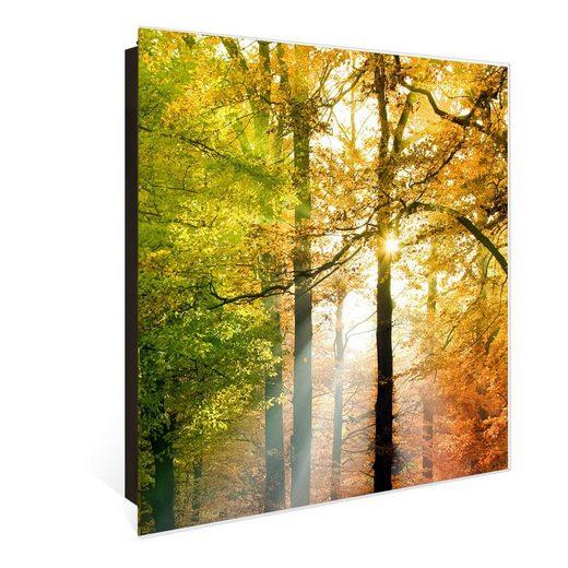 banjado Schlüsselkasten »Motiv Herbstwald«, 30 cm x 30 cm