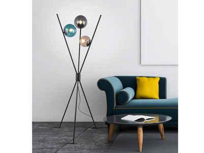 TRIO LED Stehlampe, Dreibein Glas-kugel Tripod Standlampe Kugelleuchte bunt mehrflammig Innen-Lampe für Wohnzimmer, ausgefallene Rauchglas Bodenleuchte
