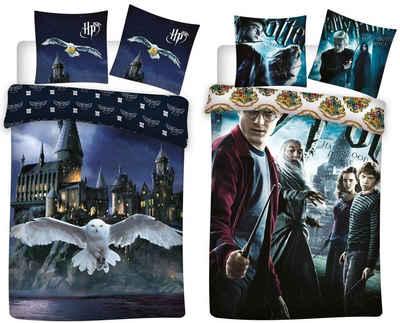 Bettwäsche »Harry Potter - 2 x Bettwäsche-Set mit Wendemotiv, 135x200 & 80x80 cm«, Harry Potter, 100% Baumwolle