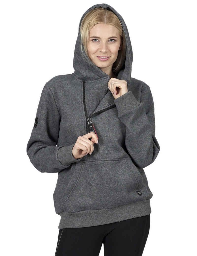 RAIKOU Kapuzensweatjacke »Unisex Pullover / Sweatjacken / Moderner Zip Hoodie mit Kapuze,asymmetrischer Kragen-Reißverschluss« Fleece-Innenseite,sportlich