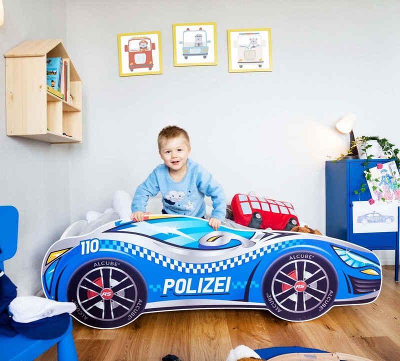 Alcube Autobett »Pkw Polizei Burning Flame und Feuerwehr«, Kinderbett 80x160 cm inkl. Matratze und Lattenrost