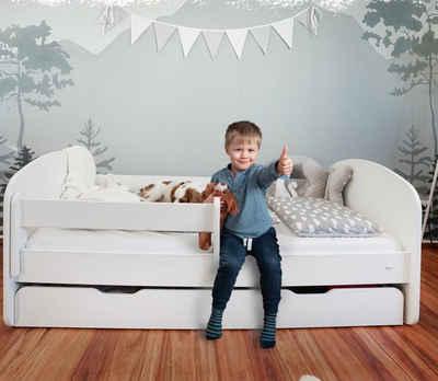 Alcube Kinderbett »MILO I Jugendbett 70x140 I 80x160«, Funktionsbett aus Holz Weiß mit Matratze Rausfallschutz Schublade und Lattenrost
