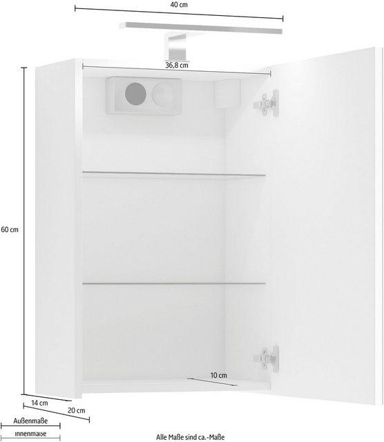 Spiegel - Homexperts Spiegelschrank »Salsa« Breite 40 cm, mit LED Beleuchtung Schalter Steckdosenbox  - Onlineshop OTTO