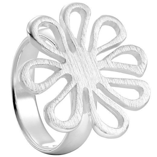 Vinani Silberring, Vinani Ring Design Blume offen mattiert massiv Sterling Silber 925 verspielt Blüte 2RMT