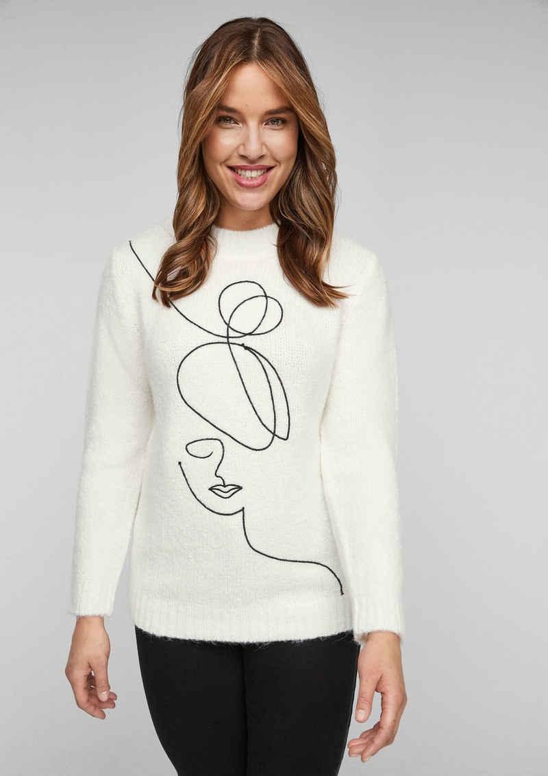 TRIANGLE Strickpullover »Pullover mit Embroidery« (1-tlg) Stickerei