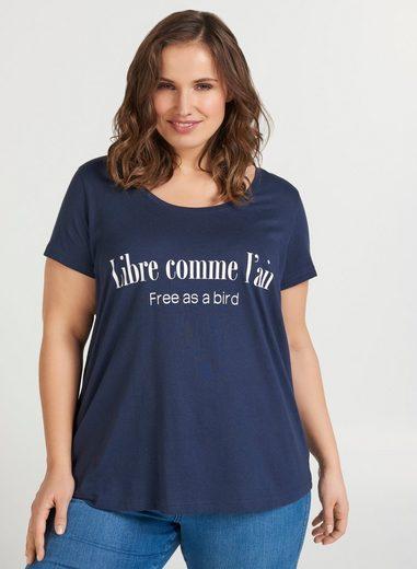 Zizzi T-Shirt Große Größen Damen Baumwoll T-Shirt mit Rundhalsausschnitt und Print