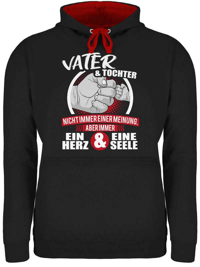 Shirtracer Hoodie »Vater & Tochter Immer ein Herz & eine Seele - weiß/rot - Papa und Vater Geschenk - Unisex Damen & Herren Kontrast Hoodie« Vatertag Geschenke für Männer
