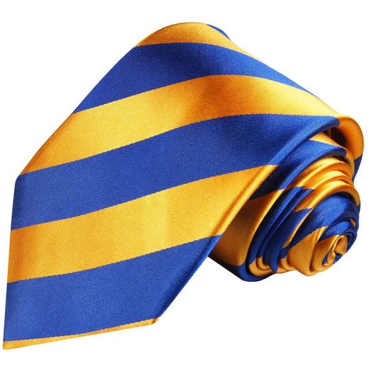 Paul Malone Krawatte »Designer Seidenkrawatte Herren Schlips modern gestreift 100% Seide« Schmal (6cm), orange blau 409