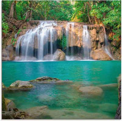 Artland Glasbild »Wasserfall im Wald National Park«, Gewässer (1 Stück)