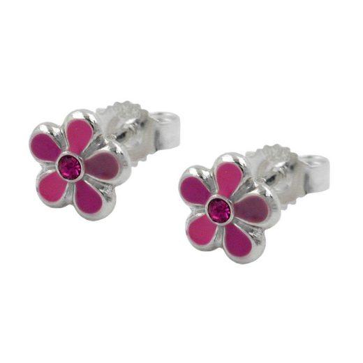 unbespielt Paar Ohrstecker »Ohrschmuck Kinderohrringe 6,5 mm Stecker Blume pink lackiert 925 Silber inklusive Schmuckbox«, Silberschmuck für Kinder