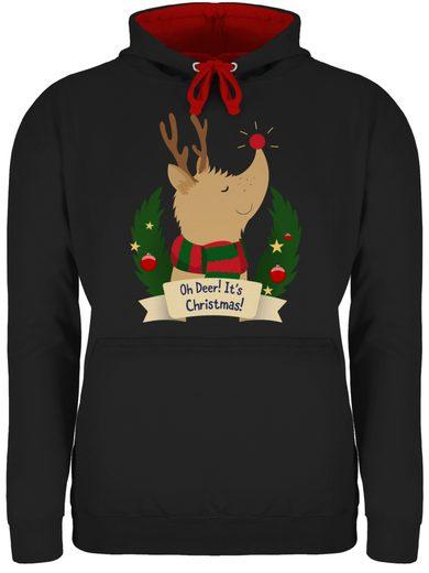 Shirtracer Hoodie »Rudolph - It's Christmas - Weihnachten & Silvester - Unisex Damen & Herren Kontrast Hoodie«