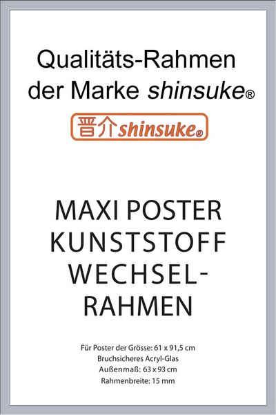 empireposter Rahmen »Posterrahmen Wechselrahmen Shinsuke® Maxi-Poster Profil: 15mm Kunststoff 61x91,5cm«, Farbe silber mit Acryl-Scheibe