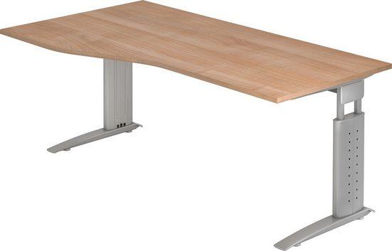 bümö Schreibtisch »OM-US18-S«, höhenverstellbar - Nierenform: 180x100 cm - Gestell: Silber, Dekor: Nussbaum