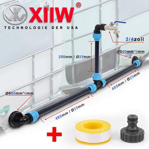 """XIIW Wasserreservoir »IBC Adapter 3/4"""" Auslaufhahn + Verbindungsset + Schwanenhals Nebeneinander«, 2000 l, für zwei IBC Regenwassertanks"""