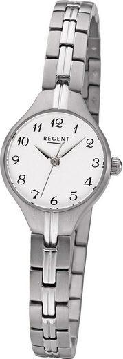 Regent Quarzuhr »D2URF1159 Regent Metall Damen Uhr F-1159 Analog«, (Quarzuhr), Damenuhr mit Metallarmband, rundes Gehäuse, klein (ca. 19 mm), Elegant-Style