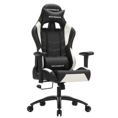 SONGMICS Gaming-Stuhl »RCG12W«, Gamingstuhl, Bürostuhl, 135 Grad Neigungswinkel, schwarz-weiß
