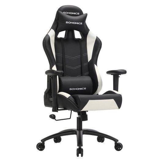 SONGMICS Gaming Chair »RCG12W« Gamingstuhl, Bürostuhl, 135 Grad Neigungswinkel, schwarz-weiß