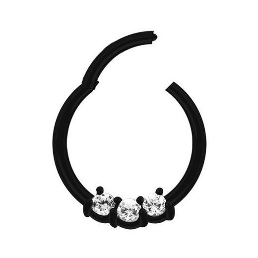 Adelia´s Nasenpiercing »Piercing Ring Segment Clicker mit Stein, Stahl schwarz«, mit drei klaren gefassten Kristallen in 2 mm