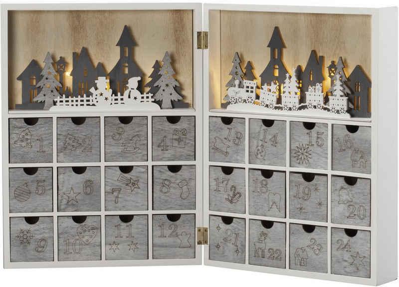 "KONSTSMIDE befüllbarer Adventskalender (1-tlg), LED Holzsilhouette, ""Adventskalender"""