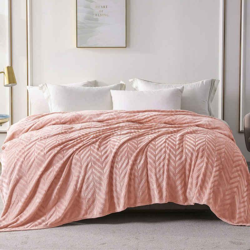 Wohndecke »Wohndecke Rosa«, Yebeda, Premium Wohndecke, Mikrofaser Fleece-Decke, 220 x 240 cm, TV- Decken, Sofadecke, Flauschige, Gemütlich, Langlebig