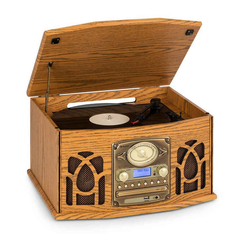 Auna »NR-620 DAB Stereoanlage Holz Plattenspieler DAB+ CD-Player braun« Plattenspieler (Bluetooth)