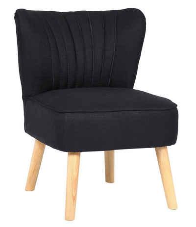 CLP Loungesessel »Sevran Stoff«, Loungesessel mit Holzgestell Polsterstuhl mit Rückenlehne Max. Belastbarkeit 120 kg