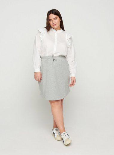 Zizzi Minirock Große Größen Damen Baumwollrock mit Melange und Schnüren