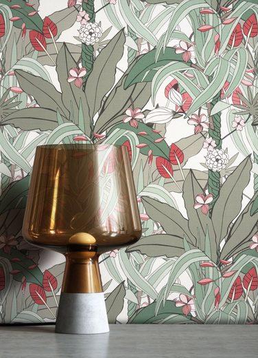 Newroom Vliestapete, Grün Tapete Blumen Tropisch - Dschungeltapete Blumentapete Rot Floral Dschungel Tropisch für Wohnzimmer Schlafzimmer Küche