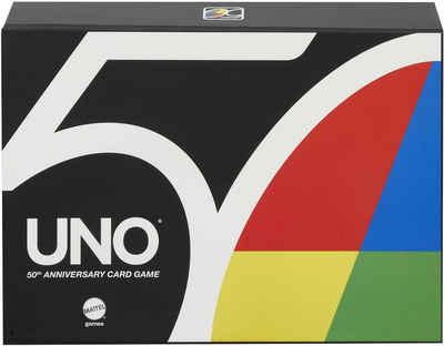 Mattel games Spiel, Kartenspiel »UNO Premium, 50 Jahre UNO«, Jubiläumsedition (mit Münze)