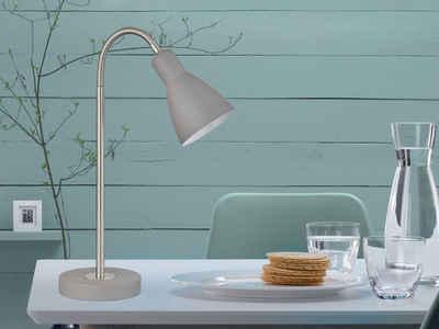 FISCHER & HONSEL LED Schreibtischlampe, Retro Arbeitsplatzleuchte & Leselampe Grau für Schreibtisch-Beleuchtung, Büroleuchte & Nacht-Tischlampe Bett