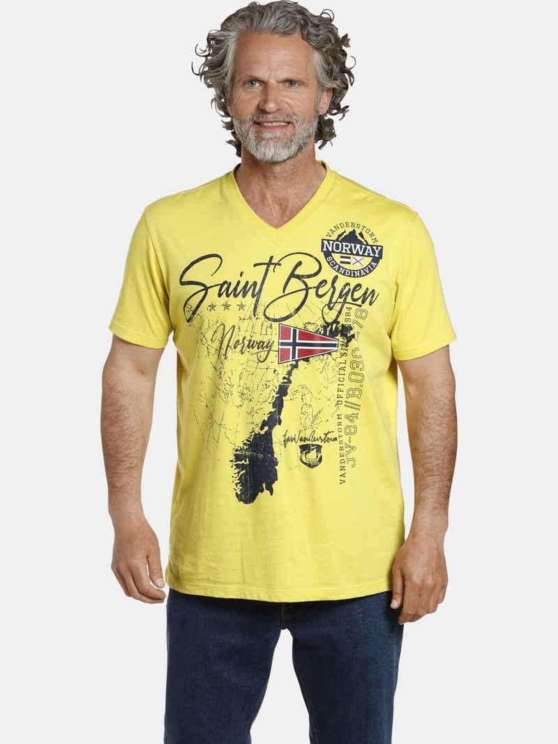Jan Vanderstorm V-Shirt »OLOV« große Brustapplikationen
