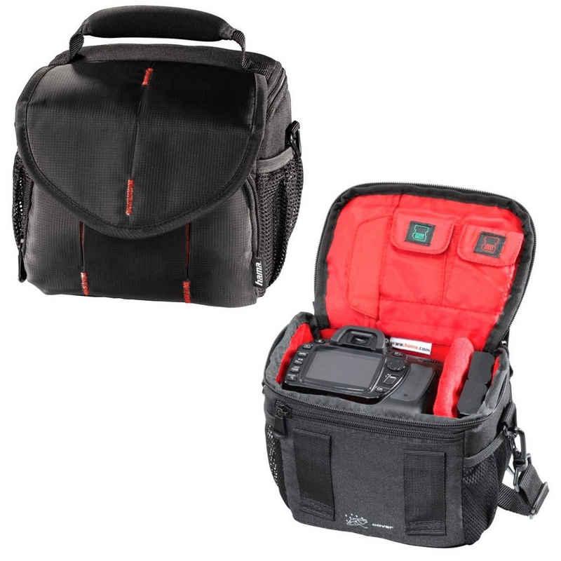 Hama Kameratasche »Kamera-Tasche Universal für DSLR Zubehör«, Inneneinteilung, Schultergurt, Tragegriff, Gürtel-Schlaufen, Seitentaschen, Regenschutz-Haube, Standfüße, passend für DSLR SLR Systemkamera