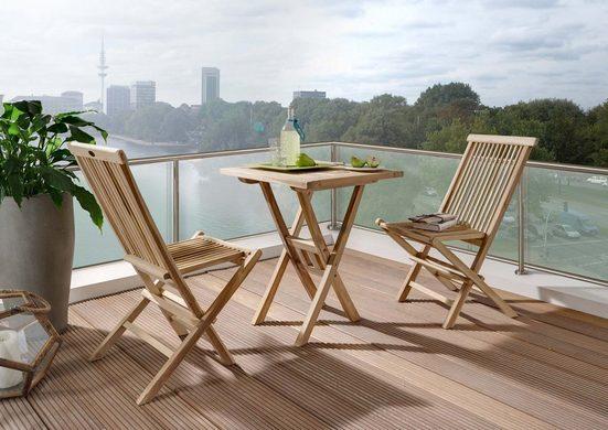 Junado® Balkonset »Romario_Samo«, Gartenset Teakholz klappbar mit eckigem Tisch 80x80