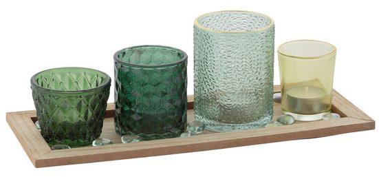 my home Teelichthalter, Tabett mit 4 Gläsern und Dekoration