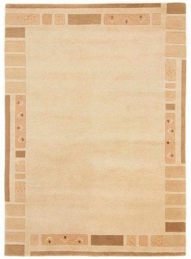 Wollteppich »Nepal Jaipur«, carpetfine, rechteckig, Höhe 20 mm, reine Wolle, handgeknüpft, Wohnzimmer
