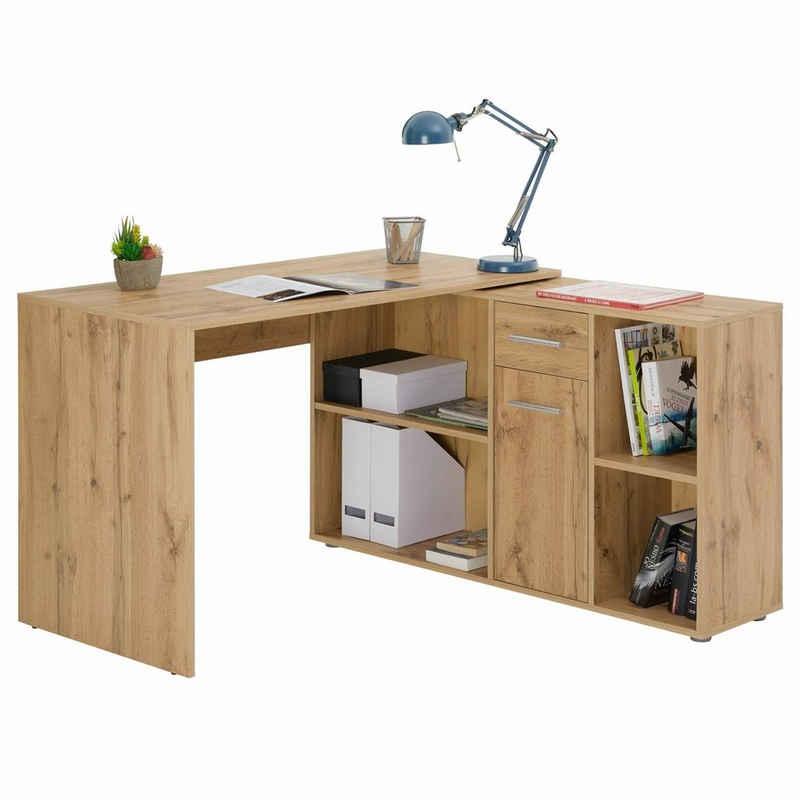 CARO-Möbel Eckschreibtisch »DIEGO«, Eckschreibtisch mit Regal Büro Arbeits Computertisch Winkelschreibtisch