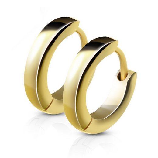 BUNGSA Creolen-Set »Creolen schmal aus Edelstahl Damen« (inkl. Schmuckbeutel aus Organza), Ohrschmuck Ohrringe Frauen Geschenk Liebe