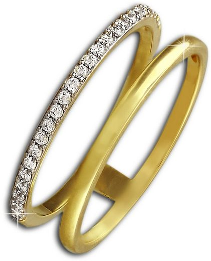 GoldDream Goldring »GDR505YX GoldDream Doppel-Ring Gr.54-60 Gold 8K« (Ringe), Damenring 333 Gelbgold - 8 Karat, Farbe: gold, weiß