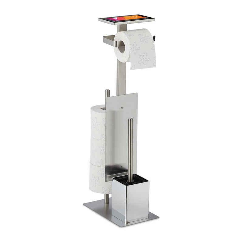 relaxdays Toilettenpapierhalter »WC Garnitur aus Edelstahl«