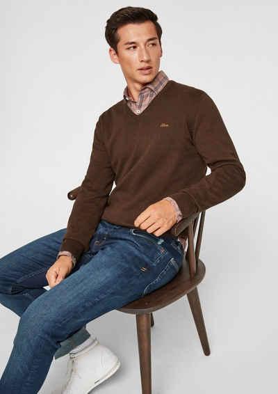 s.Oliver Strickpullover »V-Pullover aus Feinstrick« (1-tlg) Rippblende