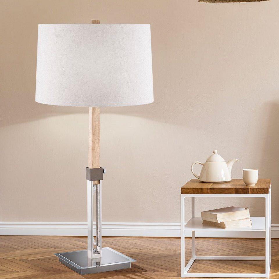 etc shop Tischleuchte, Nacht Schreib Tisch Textil Leuchte höhenverstellbar  Wohn Zimmer Holz Lese Lampe im Set inkl. LED Leuchtmittel online kaufen    ...