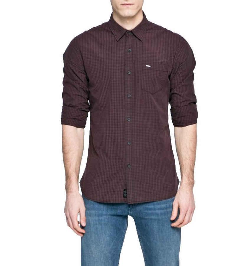 Pepe Jeans Hemd »Pepe Jeans Alex Langarm-Hemd elegantes Herren Freizeit-Hemd Frühlings-Hemd mit Knopfleiste Bordeaux«
