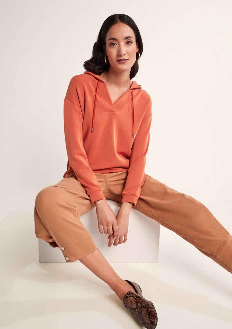Comma Sweatshirt »Kapuzen-Sweater mit V-Ausschnitt« (1-tlg) Durchzugkordel