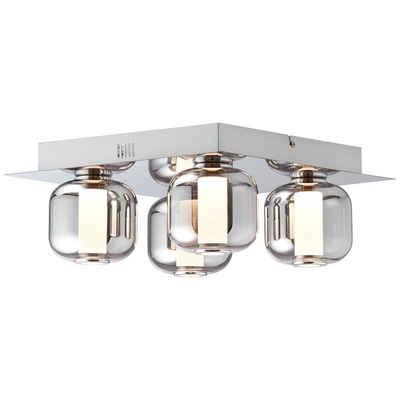 Brilliant Leuchten Deckenleuchte »Rafa«, LED Deckenlampe 4flg chrom/rauchglas