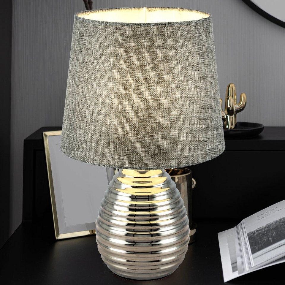 etc shop Tischleuchte, Tisch Lampe Ess Zimmer Stoff grau Chrom Lese  Beistell Nacht Licht im Set inkl. LED Leuchtmittel online kaufen   OTTO
