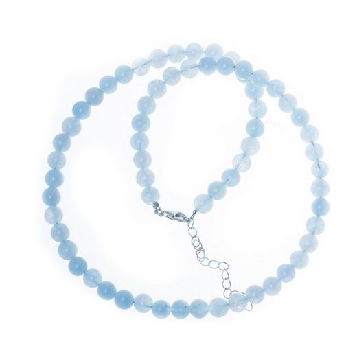 Bella Carina Perlenkette »Aquamarin 6,5 mm«, mit echten Aquamarin Perlen