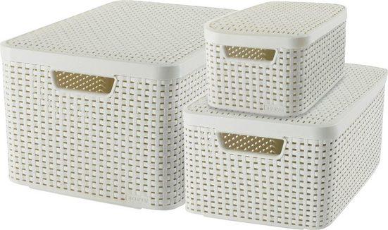Curver Aufbewahrungsbox »Style Box L+M+S« (Set, 3 Stück), creme