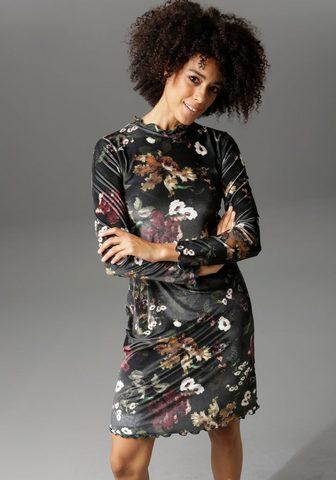 Aniston CASUAL Samtkleid su schimmerndem Blumendruck