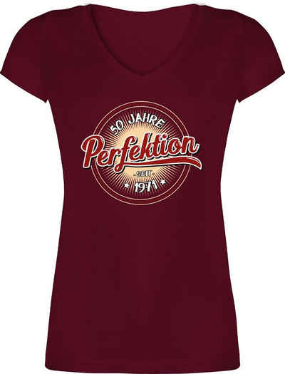 Shirtracer T-Shirt »50 Jahre Perfektion seit 1971 - weiß - Geburtstag Geschenk - Damen T-Shirt mit V-Ausschnitt« Geburtstagsgeschenk Birthday Party